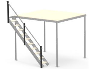 Railing flank for lateral stairs S