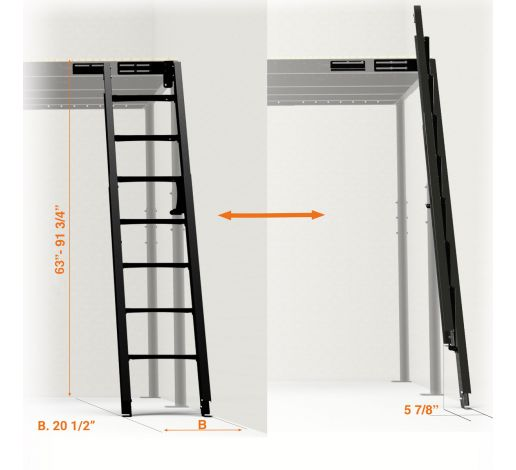 Folding Stairs to wall 54º