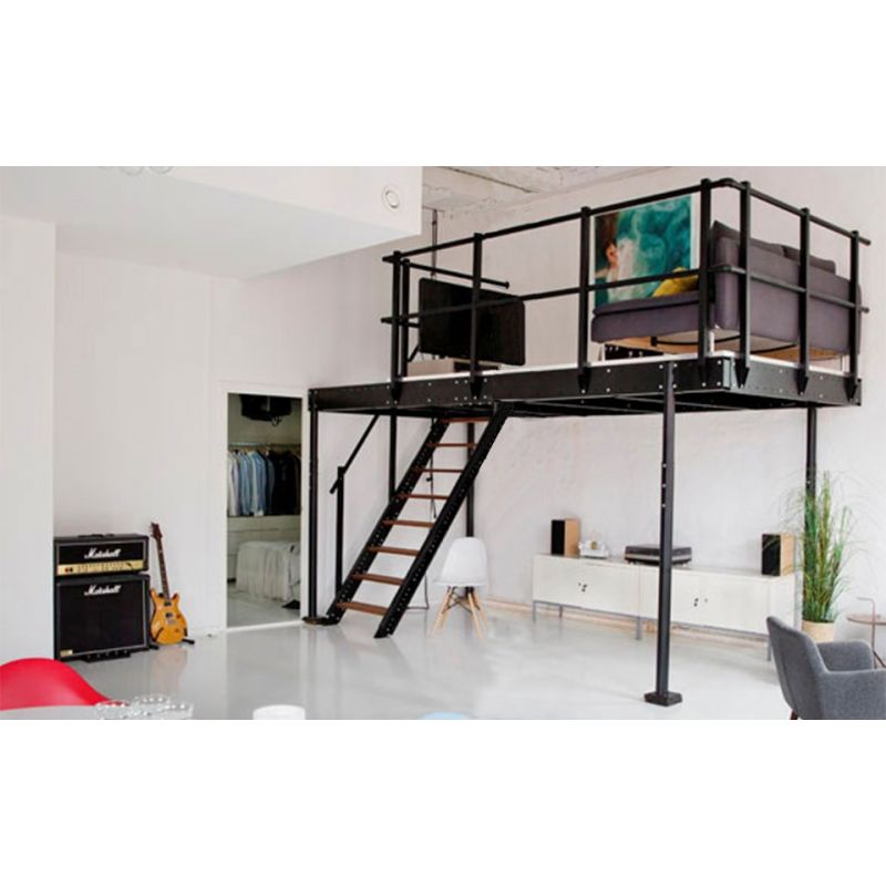 tm 15 mezzanine with m straight stairs. Black Bedroom Furniture Sets. Home Design Ideas